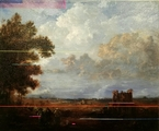 Landscape with peasants & ruined temple - thumbnail